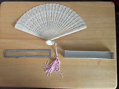 Vintage Celluloid Hand Fan in Orignal Box