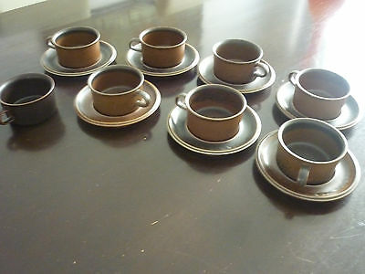 8 X Arabia Finland Ruska Wide Coffee Cups and X 7 Saucers: excellent condition