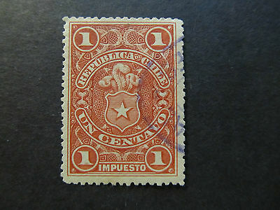 Chile - Tax Stamp - Coat Of Arms - 1 Centavo (13)