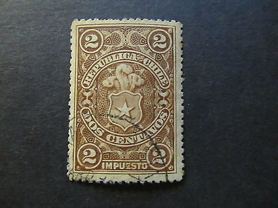 Chile - Tax Stamp - Coat Of Arms - 2 Centavos (22)