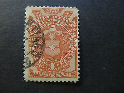 Chile - Tax Stamp - Coat Of Arms - 1 Centavo (37)