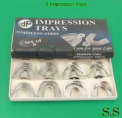 8 Impression Trays Solid PERFORATED Dental Instruments