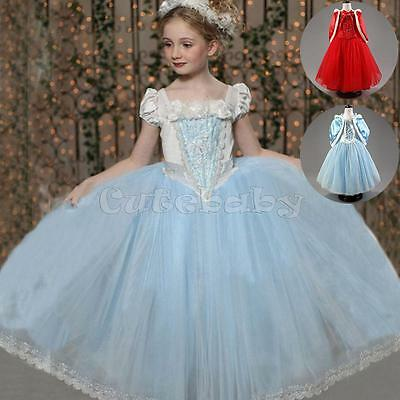 Kids Girls Princess Costume Fairytale Fancy Dress Up Cinderella Christmas Outfit