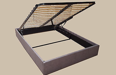 Grey Fabric Gas Lift Storage Bed Base Double (Queen out of stock)