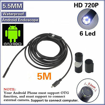 5.5MM/7MM 6 LED Android Endoscope Borescope Waterproof Inspection Video Camera