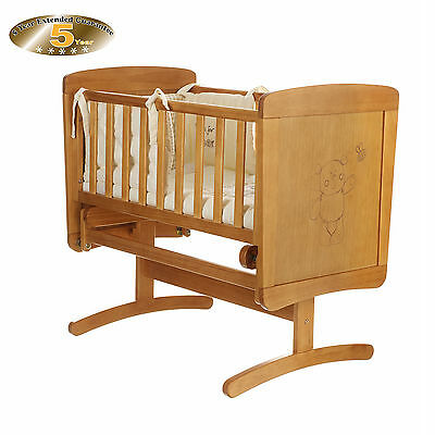 New Obaby Country Pine B Is For Bear Gliding Baby Glider Crib & Mattress