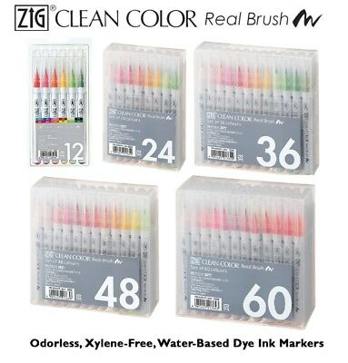 Kuretake Zig Clean Color Real Brush Watercolour Pens Art Set 12/24/36/48/60/80