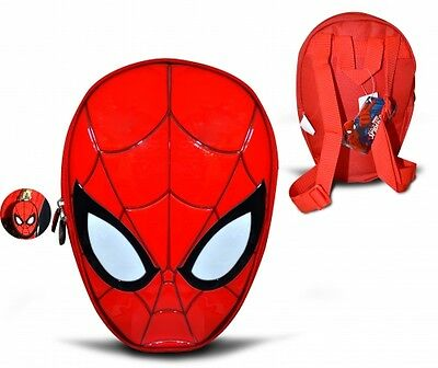 Super Hereos Spiderman Head Shapped Back Pack Brand New Toddler Bag Red