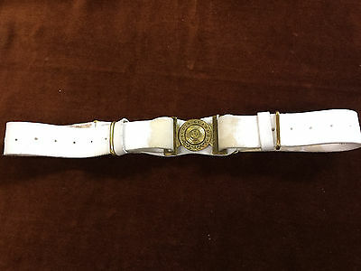Scots Guards White Leather Ceremonial Belt With Brass Buckle