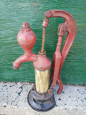 Antique Cast Iron Hand RED CYLINDER WATER PUMP Good Condition Signed SMART
