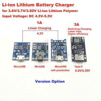 5V USB 1S 3.7V Lipo Lithium Li-ion 18650 Battery Charging Board Charger Module