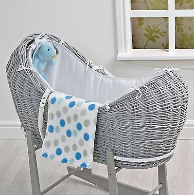 4Baby Blue Spot Grey Wicker Snoozepod Moses Basket With Blanket & Soft Toy
