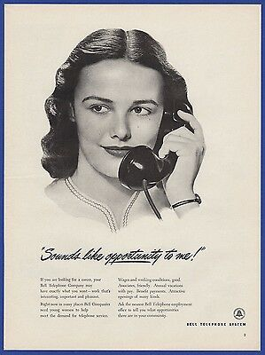 Vintage 1946 BELL Telephone System Employment Phone 1940's Magazine Print Ad