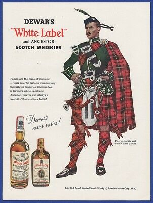 Vintage 1955 DEWAR'S WHITE LABEL Scotch Whiskey Alcohol Print Ad 1950's 50's