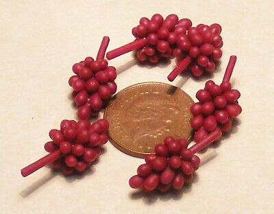1:12 Scale 6 Bunches Of Dark Red Grapes Tumdee Dolls House Food Fruit Accessory