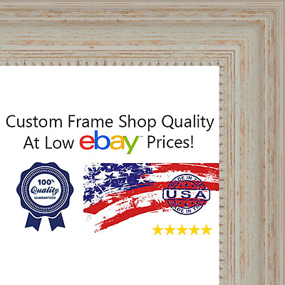 27X39 - 27 x 39 Traditional - Nautical White Washed Wood Frame Solid ...
