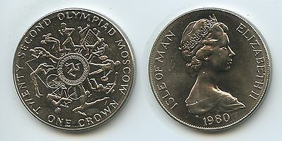 GS380 - Isle of Man One Crown 1980 KM#65 Summer Olympics Moscow Russland