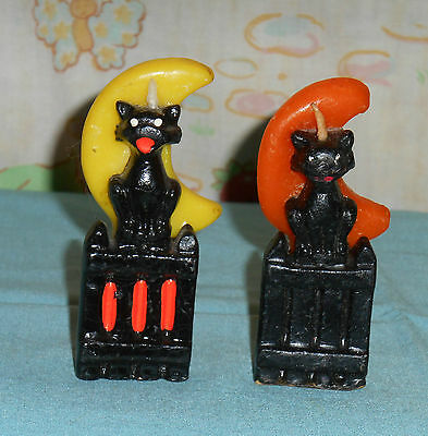 vintage Halloween GURLEY CANDLE LOT OF 2 cat on fence orange yellow moon