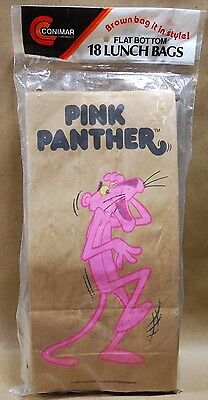 Vintage Pink Panther Brown Paper 18 Lunch Bags Conimar 1990