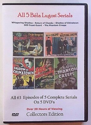 Bela Lugosi All 5 Complete Movie Serials -  Cliffhanger Movies  - Great Gift!