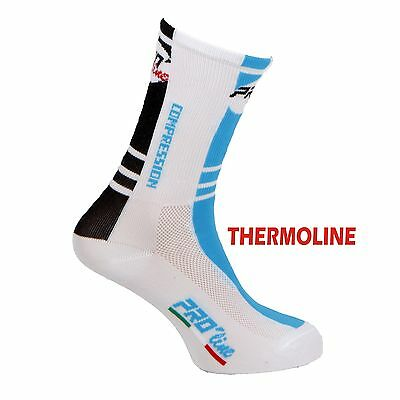 Calzini Ciclismo Proline Nero Bianco Celeste Thermoline Cycling Socks 1 Paio New
