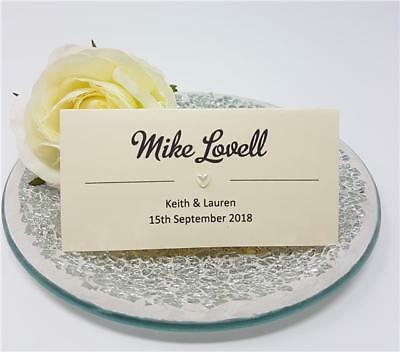 Personalised Wedding place name cards - White, Ivory,  Pearl Heart Table Setting
