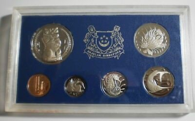 scarce 1974 SINGAPORE 6 Coin Set MINTAGE 1500 plastic case Proof set #1180 & COA