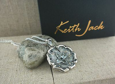 Sterling Silver & 10K Water Elements Pendant with Sky Blue Topaz by Keith Jack