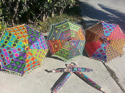 Shade... Organic Vintage Parasols Embroidered Indianfabric Gifts Color Boho Cool