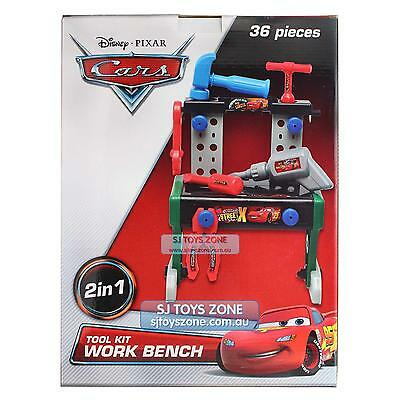 Disney Cars Lightning Mcqueen 36 pcs 2 In 1 Tool Kit Work Bench Building Toy For