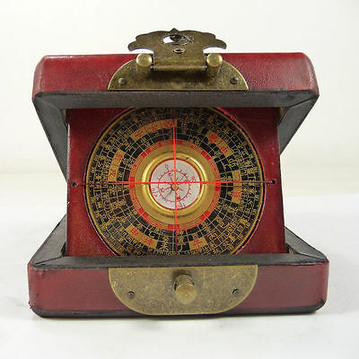 handwork old china wood usable compass with box paint dragon phoenix Boxes 01