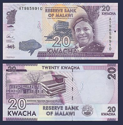Malawi P63, 20 Kwacha, 2015, fish, boat / college, books, mortarboard UV image
