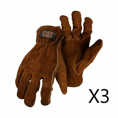 New Caterpillar CAT Men's Leather Suede Work Safety Glove Rigger 3 Pair Deal