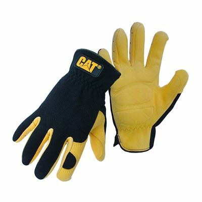 Caterpillar CAT Deer Skin eather Premium Quality Work Safety Gloves 2 Pair Deal