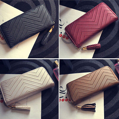 Fashion Women Leather Card Holder Wallet Clutch Purse Lady Long Handbag Tassel