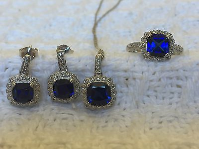 Womens genuine diamond and sapphire necklace earrings ring set Sterling silver