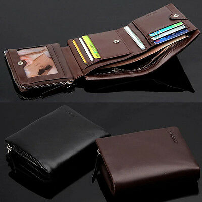 Men Large Capacity Luxury Cow Genuine Leather Trifold Card Wallet Zipper Pocket
