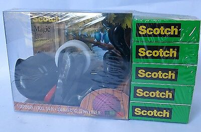 5pack 3M SCOTCH Magic Tapes with Kitty Cat Tape Dispenser Black NEW