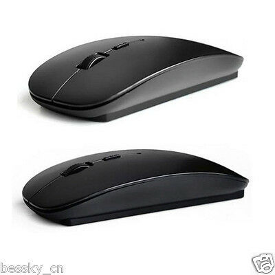 Utral Slim 2.4GHz Optical Wireless Mouse+USB Receiver For Laptop PC Mac Black