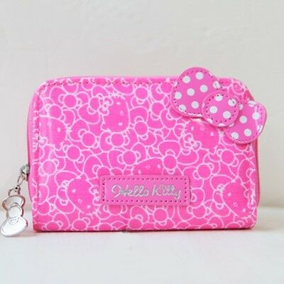 Sanrio Hello Kitty Ribbon Card Holder Case Coin Wallet Purse Cute Zipped