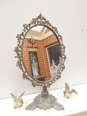 ANTIQUE Ornate BRASS Table MIRROR Swivel Adelaide