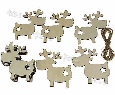 10 pcs Wooden Christmas Xmas Tree Hanging  Decorations Gift  Reindeer