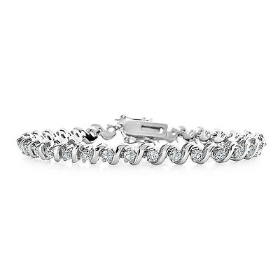 """Created White Sapphire S-Link Bracelet in Sterling Silver - 7.5"""""""