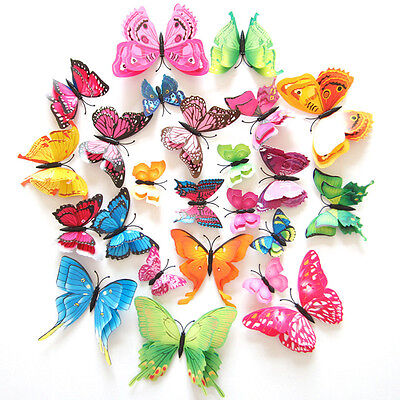 12pcs 3D Double Layer Butterfly Wall Stickers Home Room Decal Art Decoration New