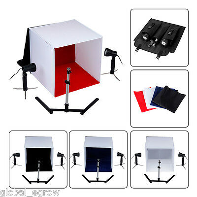Portable Photo Studio Cube Tent Lighting Kit Softbox Soft Box Tripod 4 Backdrops