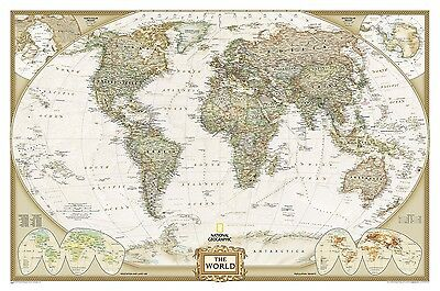 Poster Executive World Map Laminated Landscape Format 117x76cm #100086l