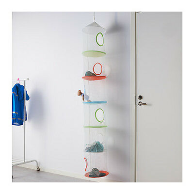 IKEA PS FANGST Hanging Storage Kids Toy Organiser w/ 6 Compartments Multicolour