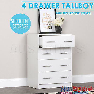 Tallboy 4 Chest of Drawers Table Cabinet Bedroom Storage White Dresser Bedroom
