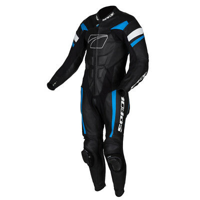 Spada Curve Evo 1 One Piece Leather Motorcycle Racing Suit - Black/Blue/White