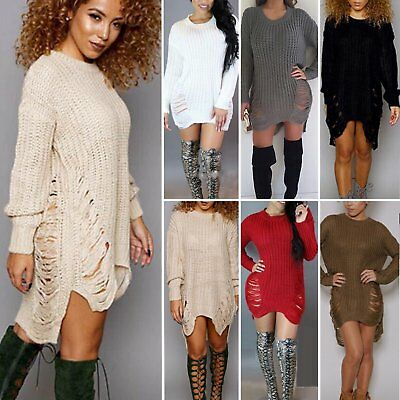 New Womens Long Sleeve Sweater Mini Jumper Dress Winter Knitted Baggy Party Tops